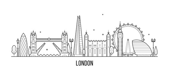Wall Mural - London skyline, England, UK city buildings vector