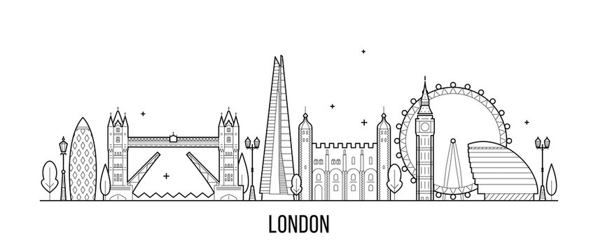 London skyline, England, UK city buildings vector