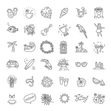 Tropical summer, hawaii icon set with white background