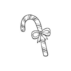 Christmas candy cane vector illustration isolated on white background. Hand drawn Christmas symbol. Doodle style.