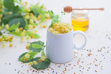 cup of linden tea and linden honey