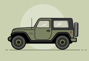 Vector modern retro khaki jeep. Tourism design.Travel by car. Retro travel car. Extreme Sports - 4x4 Sports Utility Vehicle SUV. Vector Illustration flat style for web design banner or print