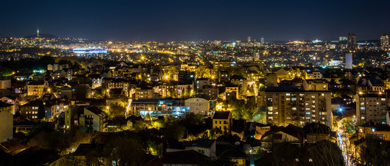 Panorama of Belgrade by night