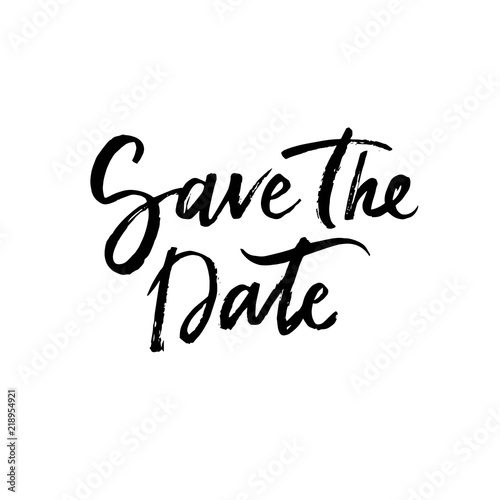 save the date unique handdrawn typography poster vector phrase