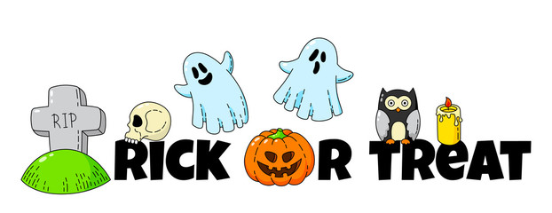 Cartoon doodle card. Happy Halloween. Background, wallpaper, template
