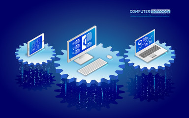 Analysis of information on laptop, tablet and pc. Monitoring and statistics data processing. Abstract analytics system isometric illustration. 3d landing page layout, web banner.
