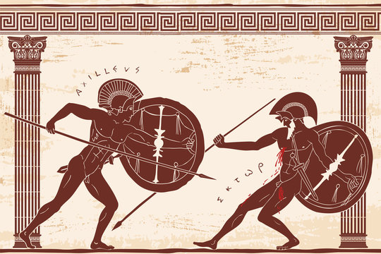 Two ancient Greek warrior Hector and Achilles with a spear and shield in his hands is fight between the columns on a beige background with an aged effect.
