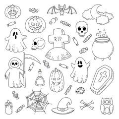 Happy Halloween. Background, wallpaper, template. Vector Cartoon Doodle Icons Set