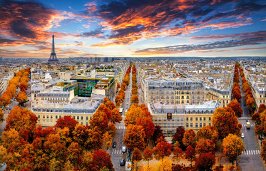 Poster de jardin Paris Aerial view of Paris in late autumn at sunset.Red and orange colored street trees. Eiffel Tower in the background. Paris, France