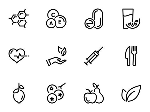 Set of black vector icons, isolated against white background. Illustration on a theme Vitamins and supplements. Natural and chemical
