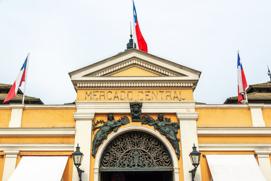 Entrance of the covered market in Santiago, Chile