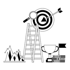 business success trophy stairs target flag search chart