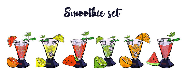 Colorful Set of smoothies. Superfoods and health or detox diet food concept in sketch style. Orange, grapefruit, strawberry, lime, lemon, watermelon smoothies.