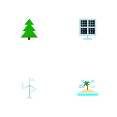Set of eco icons flat style symbols with island, energy windmill, solar panel icons for your web mobile app logo design.