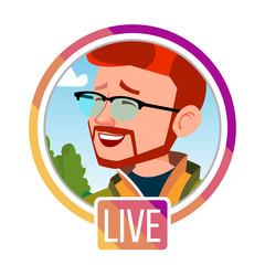 Stories Vector. Man Streamer. Live Video Streaming. Online Streaming Video. Social Media Concept. Application Mobile Interface. Icon, Avatar. User Streamer. Flat Cartoon Illustration