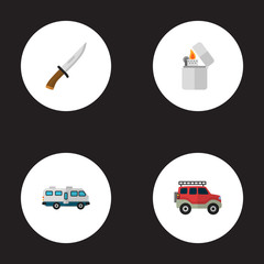 Set of camping icons flat style symbols with lighter, knife, camper van and other icons for your web mobile app logo design.