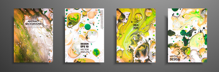 Fototapete - Hand drawn collection of card made by acrylic homemade texture. Liquid colorful texture. Fluid art. Abstract painting templates. Design for banner, poster, cover, invitation, placard, brochure, flyer