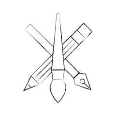 creativity design artistic tools pencil brush and ink pen