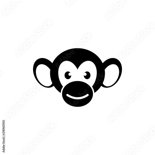 monkey face flat vector icon illustration simple black symbol on