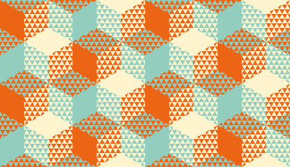 Hexagons and triangles geometric seamless pattern
