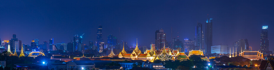scenic of panorama of night landscape grand palace of bangkok thailand