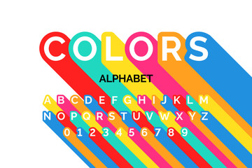 Colorful font design, alphabet letters and numbers