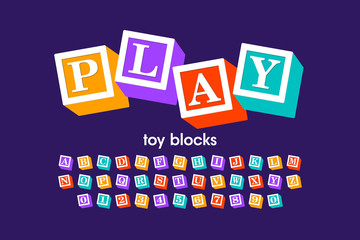 Toy blocks font, alphabet letters and numbers Wall mural