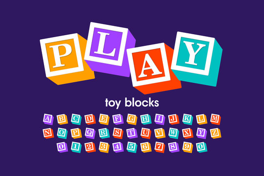Toy blocks font, alphabet letters and numbers