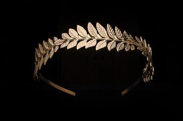 golden laurel wreath, headband isolated on black