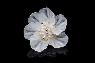 Wall Mural - brooch flower isolated on black