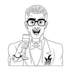 Groom with glasses and champagne cup pop art cartoon vector illustration graphic design