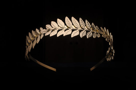 golden laurel wreath, headband isolated on black