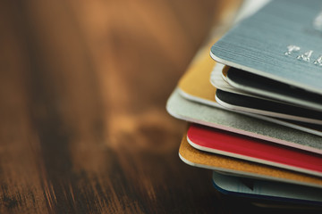 Stack of multicolored credit cards close-up  Wall mural