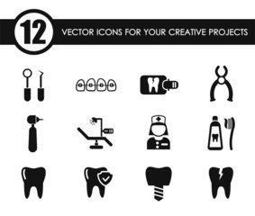 dental vector icons for your creative ideas