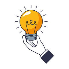 hand with light bulb isolated icon