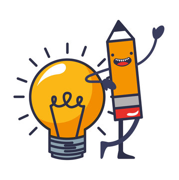 pencil write with light bulb kawaii