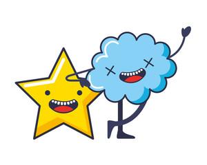 cute cloud and star kawaii characters