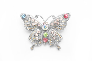 Wall Mural - Brooch silver butterfly with diamonds isolated on white