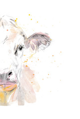 Vector illustration of a watercolor половина морды cow. Cow isolated on white background. Фронтальная голова коровы.