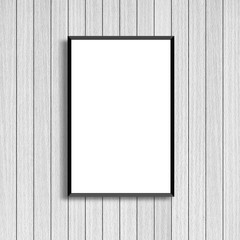 mock up white poster frame on old wood wall background texture for design and decorate interior concept