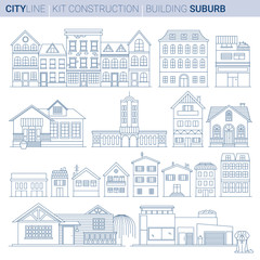 Line Vector Illustration Set. Buburb homes and shops