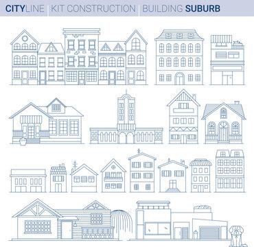 Line Vector Illustration Set. Buburb homes and shops