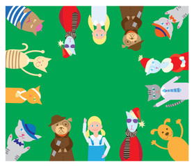 Flat vector card with cats, dogs, girls. Picture with funny animals on a green background for design.