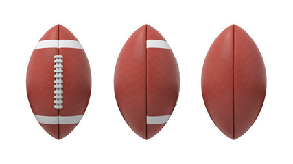3d rendering set of oval American football ball isolated on a white background.