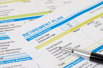 Retirement plan with pen, document is mock-up