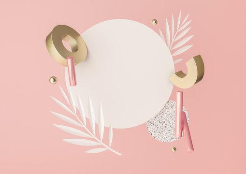 3d rendered illustration with flying geometric shapes, leaves, frame.