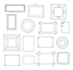 Decorative set template photo frames isolated on white background. Scrapbook or digital concept. These photo frames you can use for kids picture or your love story. Vector illustration.