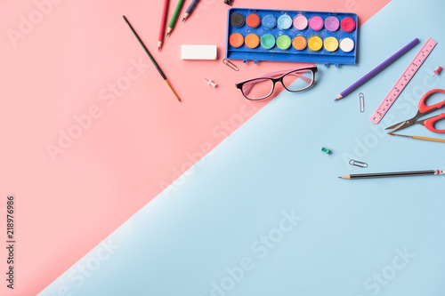 Creative Fashionable Minimalistic Back To School Education Concept Supplies Stationery Equipment