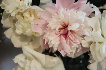 Fotobehang big beautiful pink and white peonies flowers on old table in rustic indoors