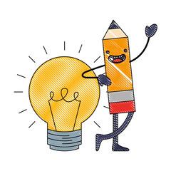 kawaii wooden pencil bulb idea cartoon